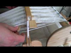 Honeycomb weave on a rigid heddle loom using 2 pick-up sticks. A knitting needle can be used as one of them.