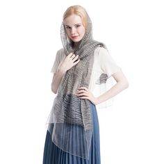"""Product: Long soft Lightweight Silk Scarf/Shawl Color: Sliver Grey Size: 74'' X  23""""  Weight:  3.5 Ounce Material: Polyester Silk  Price: $12.99  Gift Wrap available, and 30% off during Labor Day."""