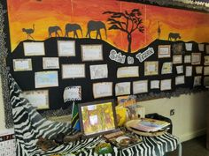 Pineterest African Crafts For the Classroom School Displays, Classroom Displays, Classroom Themes, Classroom Walls, African Art Projects, African Crafts, Safari Theme, Jungle Theme, Jungle Room