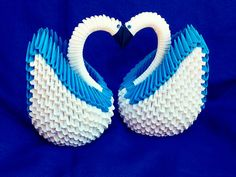 3D Origami 2 Swans/Swan couple for wedding by creativelittleshop