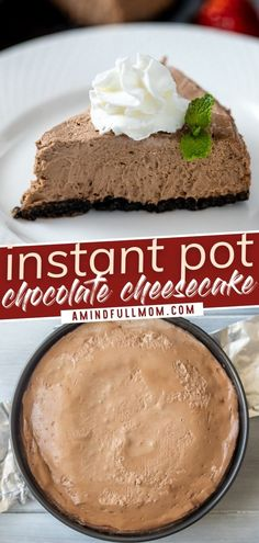 This recipe for Instant Pot Chocolate Cheesecake is the BEST! With a chocolate cookie crust and a creamy chocolate filling, this easy holiday dessert is perfect for the chocolate lover in your life. Check out other variations that you can try for Christmas! Save this pin! Easy Holiday Desserts, Elegant Desserts, Christmas Recipes, Holiday Recipes, Chocolate Filling, Chocolate Cheesecake, Chocolate Cookies, Chocolate Recipes, Easy Cheesecake Recipes