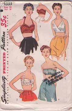Simplicity 4333 Vintage 50's Sewing Pattern SIZZLING HOT Rockabilly Pin Up Girl Cropped Halter Top, Bra Top, Tube Top, Surplice, Shirred Bust, MUST HAVE