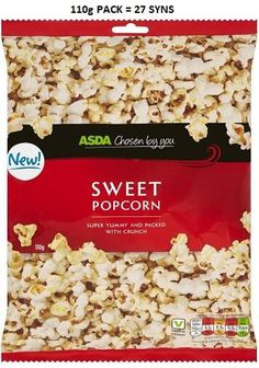Asda Sweet Popcorn Syns Slimming World Syns, Slimming World Recipes, Sweet Popcorn, Asda, Snacks, Food, Candy Popcorn, Appetizers, Essen