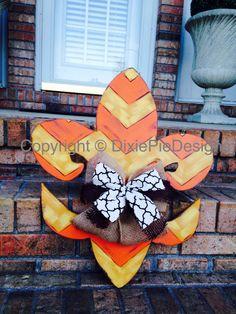 SALE Fleur De Lis Door Hanger In Stock Fall by dixiepiedesigns