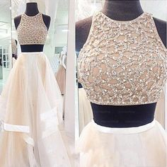 Pd38 Charming Prom Dress,sexy 2 piece style Prom Dress,A-Line Prom Dress,High Neck Prom Dress,Tulle Prom Dress