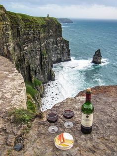 Ireland. A windy wonderful picnic on the Cliffs of Moher.