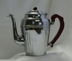 Art Deco Chrome Teapot with Red Burgundy Bakelite by RusticBuckets, $70.00