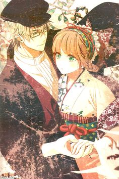 here we see a cute anime couple. there an anime guy is with his anime girl. she is sporting a cute kimono. I hope you like a lot