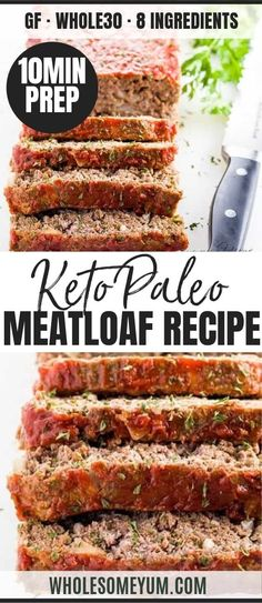 This paleo low carb meatloaf recipe is super easy to make. You need only 8 ingredients and 10 minutes prep time to make the best keto meatloaf! Meatloaf Recipe Video, Classic Meatloaf Recipe, Meat Loaf Recipe Easy, Meatloaf Recipes, Beef Recipes, Cooking Recipes, Low Carb Meatloaf, Healthy Meatloaf, Pastries