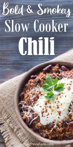 This smokey slow cooker chili takes the classic dish to a whole new level. Such an easy, yet flavorful, weeknight meal that will blow the family away! Combine simple ingredients - like beans, garden-fresh vegetables, and ground beef or wild game - for a cozy, hearty dinner on a dreary fall day. Chili Recipes, Crockpot Recipes, Whole Food Recipes, Healthy Recipes, Cooker Recipes, Best Slow Cooker Chili, Chili Toppings, Best Instant Pot Recipe, Fresh Vegetables