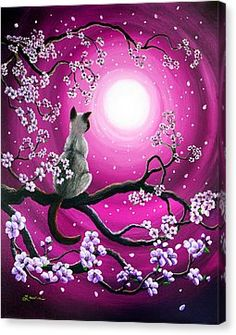 Magenta Morning Sakura Metal Print by Laura Iverson - - Kunst - Katzen Branch Drawing, Cat Drawing, Life Drawing, Fantasy Kunst, Fantasy Art, Sakura Painting, Japanese Painting, Oeuvre D'art, Animal Drawings