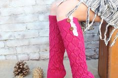 Women's Knitted   Leg Warmers   with Venice Lace and Buttons Cute  and Warm Hot pink    color