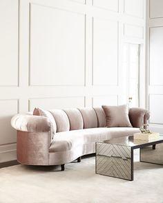 """<ul> <li>EXCLUSIVELY OURS .</li> <li>Handcrafted channel-tufted sofa.</li> <li>Alder wood frame with dark-walnut finish.</li> <li>Polyester upholstery.</li> <li>123""""L x 52""""D x 32""""T; seat, 90""""L x 26""""D x 18""""T.</li> <li>Made in the USA of imported materials.</li> </ul>"""