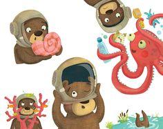 Undersea adventures for bear! Laura Watson Illustration more at www.w-illo.com/portfolio