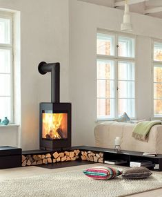Hottest No Cost modern Wood Stove Popular Whilst solid wood is regarded as the eco-friendly heating system strategy, the item never ever looks like it's. Wood Burner Fireplace, Home Fireplace, Fireplace Design, Fireplace Ideas, Freestanding Fireplace, Home And Living, Sweet Home, New Homes, House Design