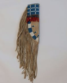 Northern/Central Plains Pony Beaded Knife Sheath from Catlin/Bodmer era. Elk rawhide, wetscraped, braintanned deer hide, white and powder blue pony beads, sewn with elk sinew, tin cones with hand dyed woolen cloth. | eBay!