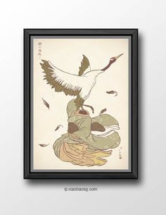 """<b>P068- The Day You Went Away </b>   Design is Inspired by Japanese folktales """" The crane wife"""" and was created with brushes and sumi-e."""" *Frame not included*  Size: <b>29.7 x 21cm (A4) 250GSM Texture paper</b>  Print will be shipped in a cardboard tube and registered mail in<b> 5-10 busin..."""
