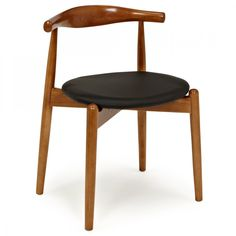 Hans Wegner Style Brown Elbow Chair With Round Seat