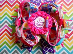 Birthday Girl Boutique Hair Bow by AllThingsGirlyBows on Etsy