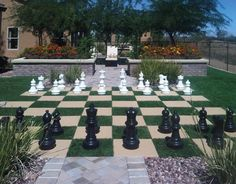 Backyard chess set with artificial grass by ForeverLawn.