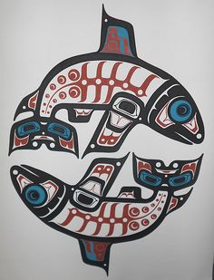 Haida Northwest Coast Indian Native Salmon Art Print Banner on Canvas, HUGE! in prints                                                                                                                                                                                 Más