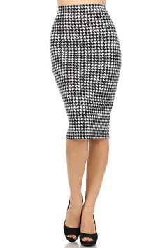 def2f4dcd97 Black  amp  White Houndstooth Print High Waist Pencil Skirt  BzFashions   StraightPencil Cheap Online