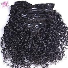 Diproses Virgin Brasil Remy Rambut Manusia Ketat Keriting Keriting Klip dalam Ekstensi Rambut Manusia 70g ~ 120g Klip Ins Weave Klip Di rambut