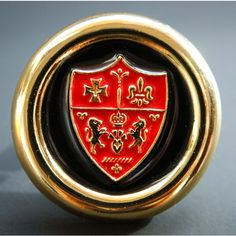 Vintage Black and Red Enamel Heraldic Coat of Arms Button Pierced... ($40) ❤ liked on Polyvore featuring jewelry, earrings, heart jewelry, vintage enamel jewelry, fleur de lis earrings, vintage heart jewelry and heart earrings