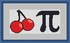 Cherry Pie pi geek cross stitch pattern chart graph needlecraft by UnconventionalX on Etsy