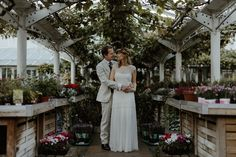 Bride and Groom portrait at Clifton Nurseries - autumnal inspired wedding
