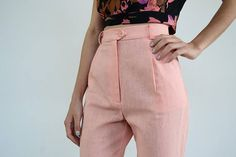 High Waisted Linen Pants /Pink Pants/ Vintage Pants / High Vintage Pants, Pink Pants, High Waisted Skirt, Trousers, Spring Summer, Trending Outfits, Skirts, Clothes, Fashion