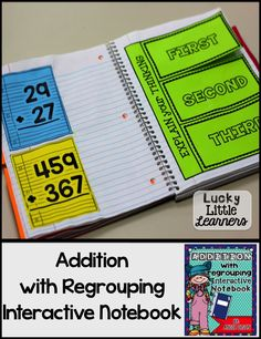 Do you use Interactive Notebooks in your classroom?  This Addition with Regrouping Interactive Notebook has 50 pages of 2-digit and 3-digit addition with regrouping activities!  All of the activities come with a picture of the completed page for easy asse