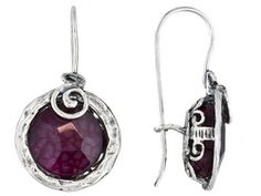 Artisan Collection Of Israel, Rose Agate Round Cabochon Sterling Silver Earrings Erv $108.00