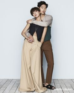 Co-stars of upcoming drama, 'Lucky Romance,' Ryu Joon Yeol and Hwang Jung Eum gathered for a photo shoot with 'Marie Claire'! Korean Celebrities, Korean Actors, Korean Dramas, Ryu Joon Yeol, Kdrama, Back Hug, Hwang Jung Eum, Hyeri, Couple Romance