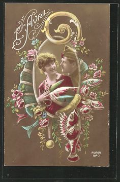 A soldier and his gal celebrate April 1st in this lovely 1910s postcard. #vintage #April_Fools_Day #fish