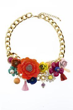 """Collar flores """"Gerbera"""" www.trakabarraka.com"""