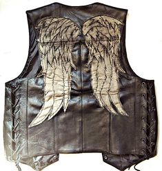 Season Six Daryl Dixon Leather Angel Wing Vest - Screen Accurate $179.91 on etzy