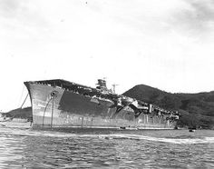 The hulk of the carrier Junyo after the end of hostilitiesawaiting disposal. She was eventually broken up in 1947. Junyo and her sister ship Hiyo, were the first Japanese carriers to have the funnel incorporated into the island structure as was standard practice in US and British fleet carriers. As can be seen in this and following photos, the funnel was actually angled outboard by 25 degrees to keep exhaust gases as far away from aircarft as possible.