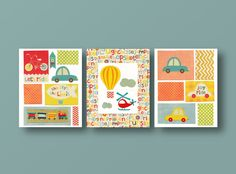 Nursery art print, baby nursery, kids art, kids room decor, red, blue, orange, car, train, vehicle, hot air balloon, Set of 3, 8x10 prints. $46.00, via Etsy.