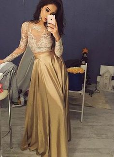 Two pieces Prom Dress,Lace Long Sleeves Evening Dress,Gold Floor Length Prom Dress