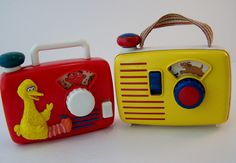 2 vintage sesame street toy radio and ambi toys radio by GarageInc