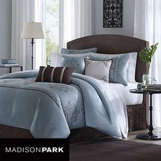 @Overstock - Update your bedroom's look with this beautiful seven-piece comforter set, which includes everything from a bedskirt to decorative pillows. Each piece is blue and brown with a stylish jacquard scroll pattern that is sure to enhance your decor.http://www.overstock.com/Bedding-Bath/Madison-Park-Brussel-7-piece-Comforter-Set/5480043/product.html?CID=214117 $99.99