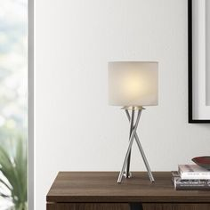 """Wade Logan Caleigh 15"""" Tripod Table Lamp Shade Color: Office Floor Lamps, Tripod Table, Torchiere Lamp, Table, Contemporary Table Lamps, Tripod Lamp, Table Lamp Shades, Lamp Shade, Tripod Table Lamp"""