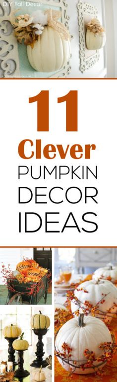 I just LOVE pumpkins, these 11 decor ideas are perfect for Halloween and… Pumpkin Crafts, Fall Crafts, Holiday Crafts, Holiday Ideas, Pumpkin Ideas, Autumn Decorating, Pumpkin Decorating, Decorating Ideas, Thanksgiving Decorations