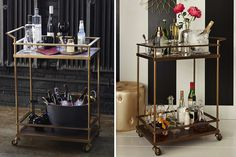 Home bar cart remarkable happy hour styling the perfect decorating ideas Home Bar Areas, Bar Refrigerator, Gold Bar Cart, Bar Cart Decor, Modern Contemporary Homes, Bar Sink, Bars For Home, Home Decor Styles