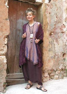 Silk tunic made of taffeta and sarouel made of raw silk  Silk scarf