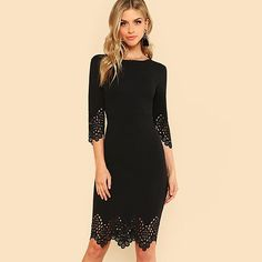 Black Pencil Half Sleeve Zip Back Hollow Out Bodycon Midi Elegant Party  Dress. Black Pencil DressCasual Fall OutfitsCasual ... ff027012500f