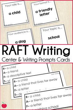 The RAFT writing strategy gives students practice with a range of writing genres, roles, points of view, audiences, formats, and topics.  These RAFT task cards are perfect for a writing center as students independently work.  With two different formats you can scaffold students through the components of RAFT into independent E/LA centers.  These cards are perfect for second grade, third grade, and fourth grade literacy centers.  #raftwriting #2ndgrade #3rdgrade #4thgrade