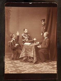 """The Grand Dukes Pavel and Sergei Alexandrovich Romanov of Russia with two others at a photo shoot. """"AL"""""""