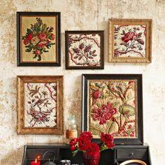 Des tableaux de tissus fleuris
